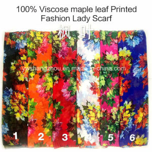 100% Viscose Hot Sale Fashion Ladies Maple Leaf Printed Scarf pictures & photos