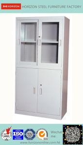 Steel High Storage Cabinet Office Furniture with Steel Upper Double Sliding Steel Framed Glass Doors and Lower Double Sliding Doors Cabinet/File Cabinet pictures & photos