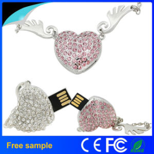 Fashion Girl Crystal Necklace Angel′s Wings Heart USB Flash Drive