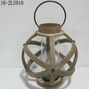 Shabby Antique with Metal Circle Rings of Wooden Lanterns pictures & photos