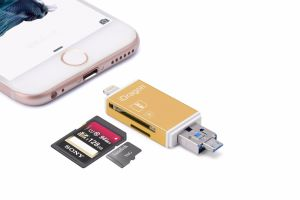 Smart Card Reader for iPhone 5s Memory Card Reader with Micro USB and Support SD/TF Card (OM-RC004) pictures & photos