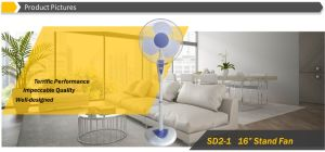 "Good Sale 16"" Oscillating Stand Fan with Remote Control, LCD Display pictures & photos"