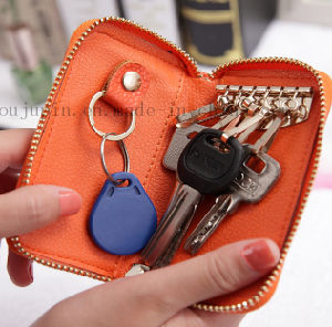 OEM Logo Zipper Leather Promotional Key Bag with Hook pictures & photos