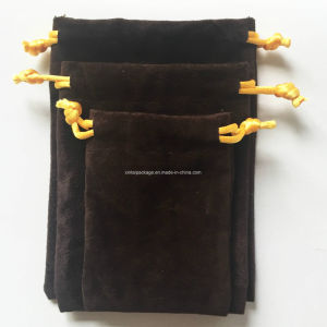 Factory Wholesale Fashion Brown Suede Drawstrings Pouches pictures & photos