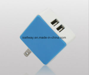 Mobile Phone Charger Manufacturer Two USB 5V2.1A Wireless Travel Charger with Folding Plug pictures & photos