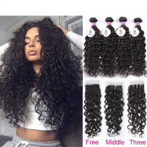 8A Brazilian Virgin Hair Curly Bundles with Closure Cheap 4 Bundles Brazilian Kinky Curly Weaves with Closure Soft pictures & photos
