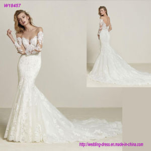 Illusion off-The-Shoulder French Sleeves Embroidery Mermaid Wedding Dress pictures & photos