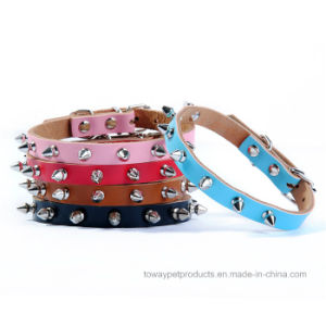 Quality Real Cowskin Leather Spike Home Training Pet Collars pictures & photos