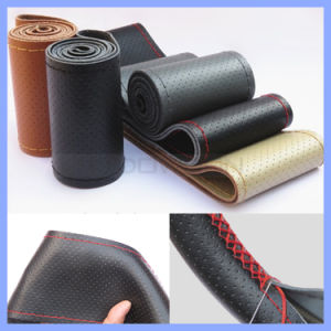 Factory Supply Four Seasons Universal Hand Sewn 100% Genuine Leather Steering Wheel Cover pictures & photos