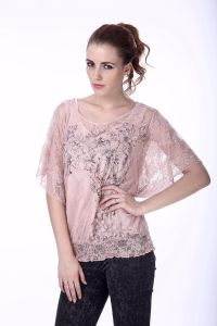 Women′s New Fashion Lace Blouse Designs Short Sleeve Two Piece Lace Blouse pictures & photos