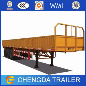Factory Sales 3 Axle 40tons New Used Flatbed Container Cargo Trucks Trailer with Side Wall for Sale pictures & photos