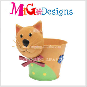 Adorable Cat Design Metal Planter Pot pictures & photos
