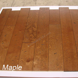 Antique Handscraped Wood Flooring Maple /Birch Solid Wood Flooring