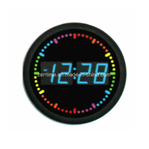 Elelctric Am/Pm Mode Circle Multiple LED Color Digital Time Clock pictures & photos