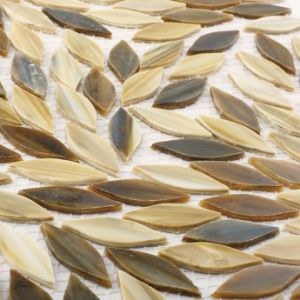 Leaf Shape Grey Kitchen Floor Tile Pieces Stained Glass Mosaic pictures & photos
