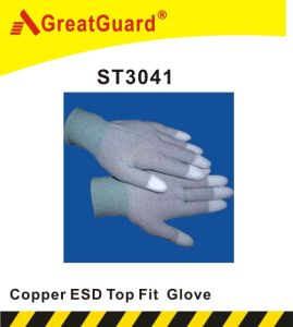 Copper Top PU ESD Glove (ST3041) pictures & photos