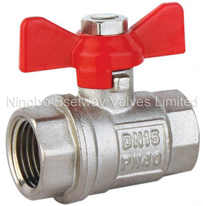 Butterfly Handle Nickel Plated Brass Ball Valve (BW-B47) pictures & photos