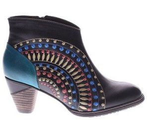 Western Inspired Colorful Pattern Leather Ankle Boots pictures & photos