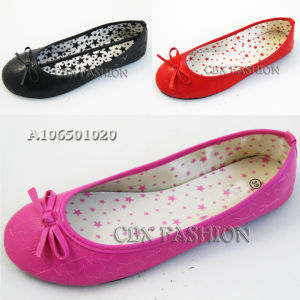 Fashion Embroidery Stars Bowtie Women Ballet Flats Shoes (A106501020)