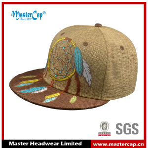 Fashion Embroidery Linen Fabric Flat Visor Hat Fitted Cap