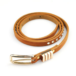 Fashion Leather Skinny Belt with Diamond