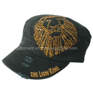 Grinding Washed Embroidery Colorful Rhinestone Leisure Military Cap (TMM1994) pictures & photos