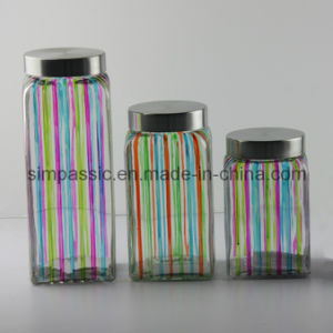 Hand Drawing Square Storage Jar (3PCS) (SG1395SJ) pictures & photos
