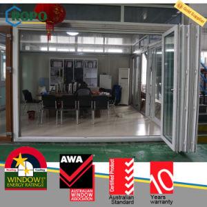 Exterior Easy Moving UPVC/PVC Plastic Sliding Folding Glass Door pictures & photos