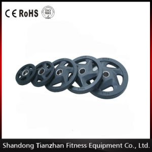 2016 Hot Sale/ Muscle Building Equipment /Commercial Gym / 5 Holes Black Rubber Coated Olympic Plate/Tz-3009 pictures & photos