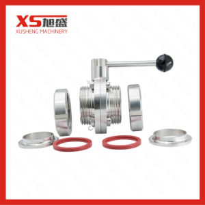 Sanitary Screw Thread Butterfly Valves with Stainless Steel Handles pictures & photos