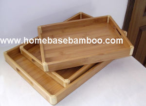 Bamboo Tea Food Coffee Fruit Serving Tray Tableware Storage Organizer Hb413 pictures & photos