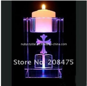 Engraved Purple Crystal Cube Tealight Holder pictures & photos