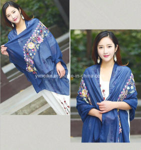 Popular Cotton and Bast Fiber National Style Shawl Sun-Protective Embroidered Scarf pictures & photos