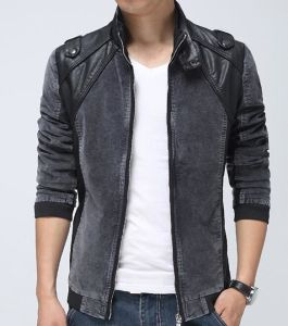 2015 Contrast Fashion PU Jacket for Men pictures & photos