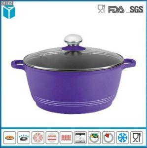 Die Cast Aluminum with Glass Lid Casseroles for Kitchen (Purple
