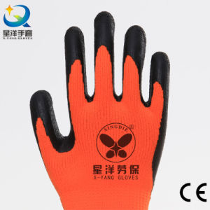 Acrylic Napping Lining Latex Coated Safety Glove pictures & photos