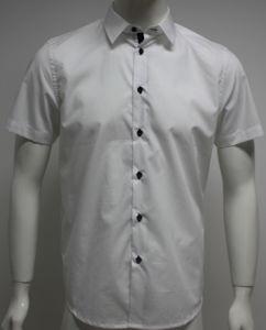 Men′s Poplin Woven Short Sleeve Fashion Shirts HD0072