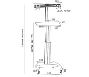 """Mobile Computer Workstation Gas Lift/Trolley Single Monitor 10-24"""" Adjustable (GAS 1602) pictures & photos"""