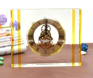 Custom Crystal Glass Desk Clock Craft for Decoration pictures & photos