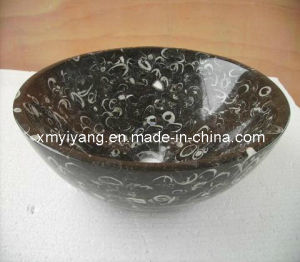 Seashell Flower Black Marble Stone Wash Sinks, Bathroom Sink