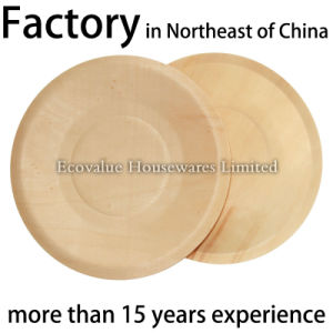 Round Wooden Disposable Plates, Disposable Wood Plate for Restaurant pictures & photos