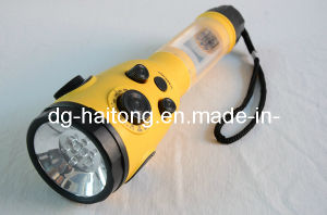 2015 High Power Newest Design Rechargeable Solar Dynamo Torch Radio Flashlight (HT-3068) pictures & photos