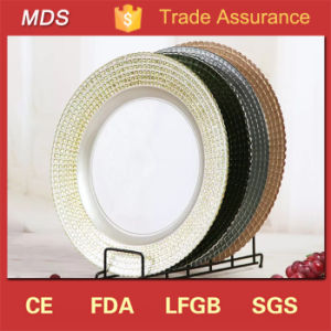 13 Inch Wedding and Caterign Gold Border Glass Charger Plate Wholesale pictures & photos