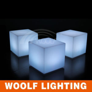Cheap White Plastic LED Lighting Cube Chairs for Adult pictures & photos
