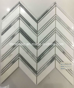 Hot Sale Grain Grey Herringbone Marble Mosaic Tile pictures & photos