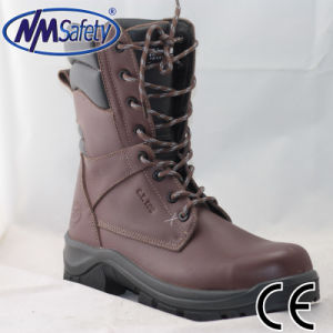 Nmsafety Factory Brown Cow Leather Safety Boots pictures & photos