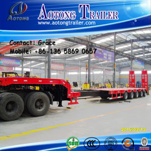 China Manufacturer 80t 4 Axles Low Bed / Lowboy Low Loader Semi Truck Trailer for Sale pictures & photos