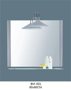 Bathroom Glass Mirror with Shelf with Lamp