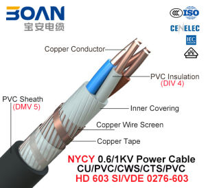 Nycy, Power Cable, 0.6/1 Kv, Cu/PVC/Cts/Cws/PVC (VDE 0276-603) pictures & photos