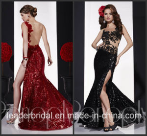 Sequins Split Vestidos Red Black Sheer Party Prom Gown Evening Dress P14711 pictures & photos